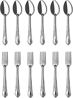 Forks and Spoons 12 Pieces Stainless Steel Cutlery Silverware Flatware Tableware Set Dishwasher Safe Rust and Heat Resistant