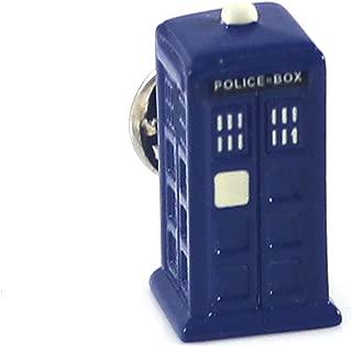 Novelty Blue Tardis Lapel Pin Movie Theme Police Box Suit Pin
