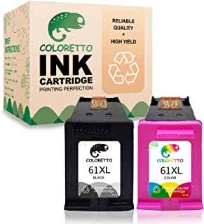 Coloretto Remanufactured Printer Ink Cartridge Replacement for HP 61 61XL 61 XL,Ink Level Display for HP Deskjet 1000 2546R 3051A, Envy 4500 450, Officejet 2620 2621(1 Black+ 1 Color)