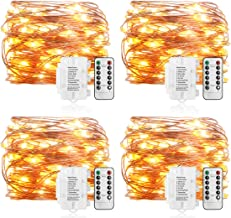 Koopower 16ft 50 LEDs Fairy Lights 8 Mode Remote and Timer String Lights Waterproof Battery Operated Copper Wire Lights for Bedroom, Garden, Easter, Xmas Warm White 4 Pack