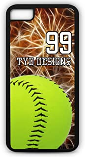iPhone 8 Plus Softball Case Fits iPhone 8 Plus or iPhone 7 Plus Custom Made Design Tough Cell Phone Case with Any Jersey Number Team Name in Black Rubber Black Plastic S1034 by TYD Designs
