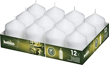 BOLSIUS White Pillar Candles - 16 Long Burning Hours Candle Set - 3-inch x 2.5-inch Dripless Candle - Perfect for Wedding Candles, Parties and Special Occasions