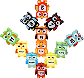 GDYS Wooden Digital owl Stack high Balance Toy Large Color Stack Music Children's Puzzle Building Blocks