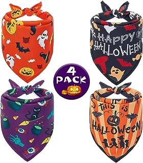 Halloween Dog Bandana - 4 Pack Soft Pumpkin Bat Dog Bandana Triangle Bibs Scarf Accessories, Cute Pet Kerchief Set for Cat...