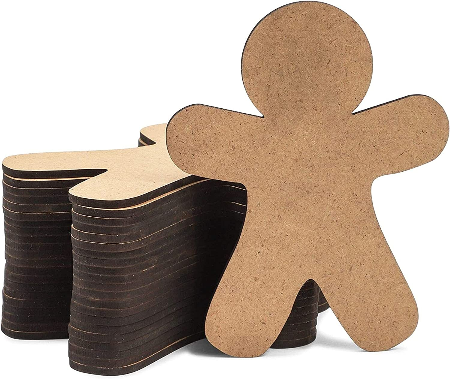 DIY Christmas Ornaments, Wooden Gingerbread Men for Crafts (3.5 x 4.5 in, 24 Pack)