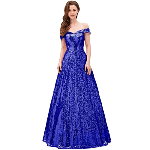 5149299ef02 YIRENWANSHA 2019 Off Shoulder Prom Dress for Women Long Sequin Manual  Beaded Formal Gown SHPD41