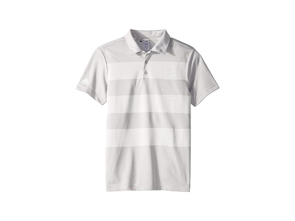 Image of adidas Golf Kids Three Stripe Polo (Little Kids/Big Kids) (Grey Two) Boy's Short Sleeve Knit