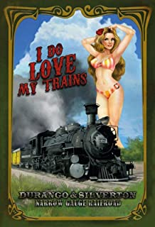 FDerks Pinup Girl I Do Love Trains Design Vintage Industrial Custom Metal Tin Sign Home House Coffee Beer Drink Bar 8 x 12 Inches