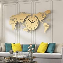 Wall Clock, European Style Decorative Map Stainless Steel Clocks Modern Atmospheric Wall Bell Creative Simple and Stylish ...