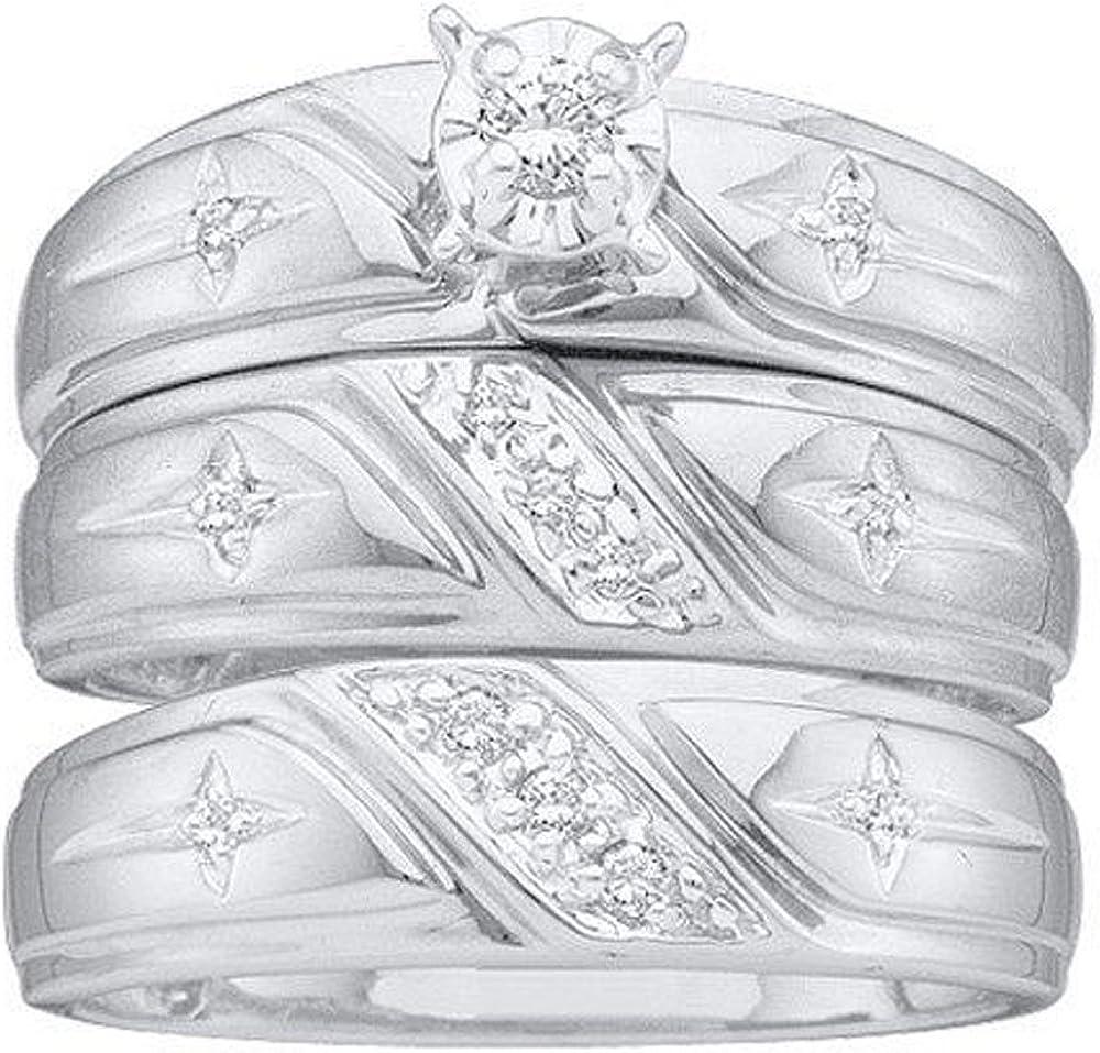 Dazzlingrock Collection 0.20 Carat (ctw) 10K Round White Diamond Men & Women's Engagement Ring Trio Bridal Set 1/5 CT, White Gold