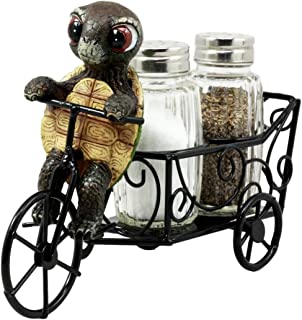 Ebros Slow Seasoned Delivery Turtle Riding Tricycle Cart Salt and Pepper Shakers Holder Figurine
