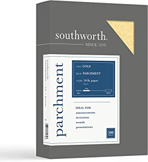 """$23 » Southworth Parchment Specialty Paper, 8.5"""" x 11"""", 24 lb/90 GSM, Gold, 500 Sheets - Packaging May Vary (994C)"""