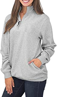 Women's 1/4 Zip High Collar Long Sleeve Solid Pullover Sweatshirts with Pockets