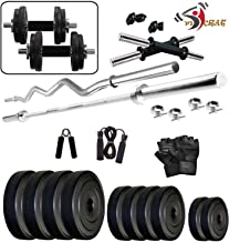 FitCrat Fitness (GymMart Industris) 30Kg Weight Plates, 5Ft Rod, 3Ft Rod, 2 D.Rods Home Gym Dumbell Set
