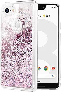 Caka Google Pixel 3 XL Case, Google Pixel 3 XL Glitter Case Liquid Series Luxury Fashion Bling Flowing Liquid Floating Sparkle Girly Soft TPU Case for Google Pixel 3 XL (Rose Gold)