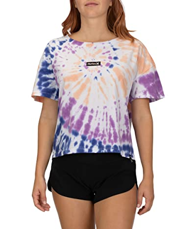 Hurley One Only Tie-Dye Flouncy Tee (White) Women