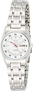 Seiko 5 Automatic Women's Silver White Dial Stainless Steel Band Watch - SYMB93J1