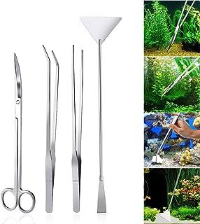 Voarge 4-częściowy zestaw ze stali nierdzewnej do akwarium, akwarium, akwarium, akwarium, akwarium, rośliny wodne, zestaw ...