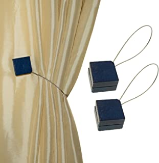 MagnaClips Curtain Tiebacks or Holdbacks, Curtain Clips - Magnetic Wood Buckle, Set of 2, Quadra (Blue)