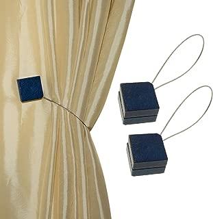 MagnaClips Curtain Tiebacks or Holdbacks, Curtain Clips - Magnetic Wood Buckle, Set of 2, Quadra (Blue)