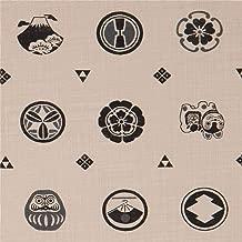 Natural color Kokka canvas fabric with symbols (per 0.5 yard unit)