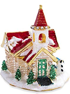 YU FENG Xmas Villa Jewelry Trinket Box Hinged Jewelled Jewelry Boxes Ornament Gift