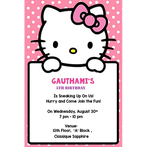 WoW Party Studio Boys And Girls Artboard Personalized Hello Kitty Theme Birthday Invitation Cards With Name