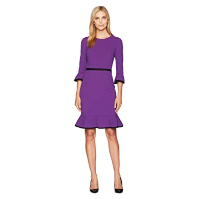 Donna Morgan Sheath Dress with Flounce and Piping (Bright Purple/Black) Women