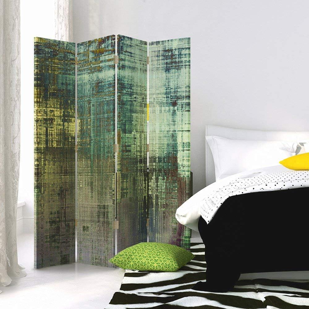 ABSTRAKT Raumteiler dekorative Trennwand 110x150 cm 3 teilig BLAU GELB Paravent einseitig Multicolor Gedruckten auf/ Canvas Farbe Leinwand Wandschirme Kunst Feeby Frames