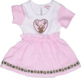 Eisenherz Babybody in Dirndl-Look Body mit Hirsch Stickerei für Mädchen, rosa/weiß