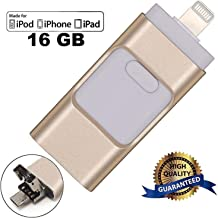 USB Flash Drives for iPhone 16GB, LU2000 i-Flash U-Disk Phones Memory Storage Jump Drive Lightning U FlashDrive Stick External Storage Memory Extension for Apple iOS Android Computers - Gold