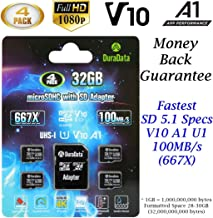 4-Pack 32GB Micro SD SDHC Card Plus Adapter (Amplim MicroSD Memory Card V10 A1 Class 10 C10 UHS-I) 4X 32 GB Ultra High Speed 100MB/s 667X TF Pro for Cell Phone Tablet GoPro Camera Fire Nintendo DJI