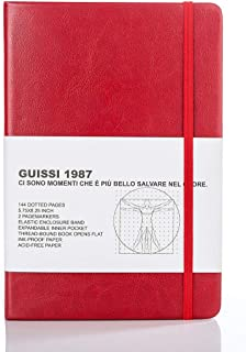 Guissi Classic Dot Mesh Bullet Notebook Journal Dot Hard Cover A5 Premium 100gsm ورقة سميكة خالية من الأحماض مع جيب داخلي ...