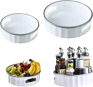 UHAPEER Porte épices 2PCS, Plateau Tournant Organiseur Rangement Cuisine, Étagère Épices 360° Rotatif, Épaissir Plastique ...