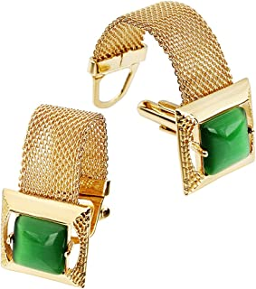 Mens Cufflinks with Chain - Stone and Shiny Gold Tone Shirt Accessories - Party Gifts for Young Men (Cats Eye)