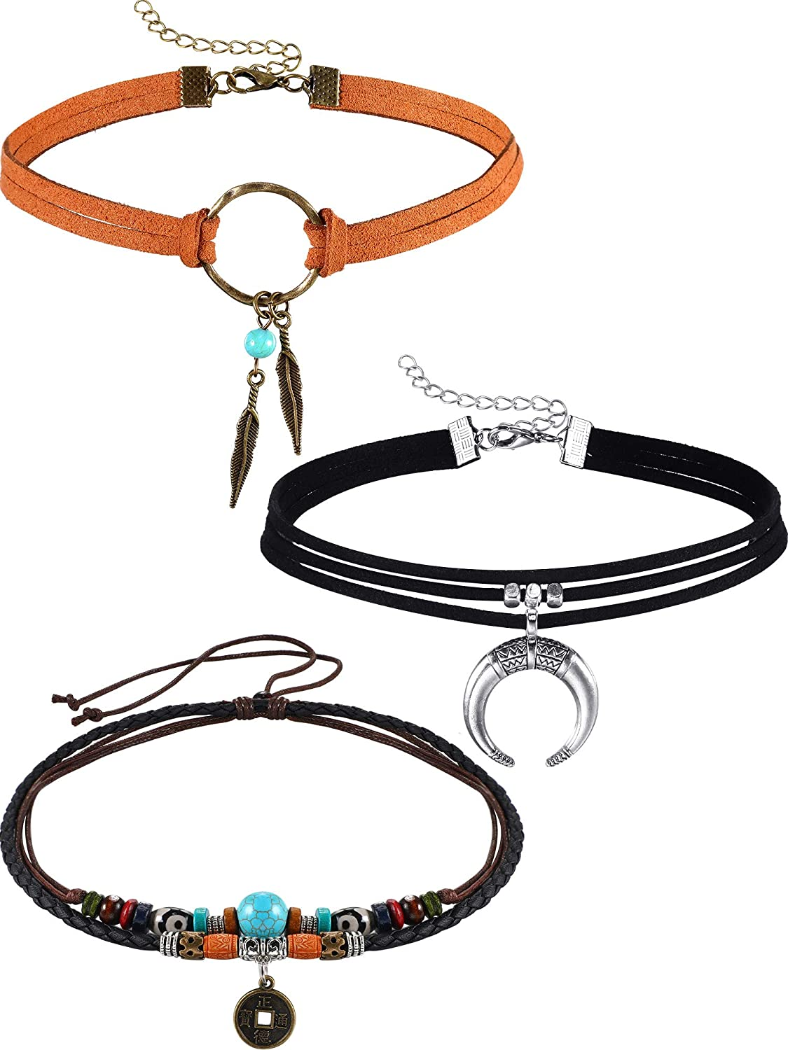 Sales results No. 1 Hicarer 3 Virginia Beach Mall Pieces Suede Choker Feather Necklaces American Indian