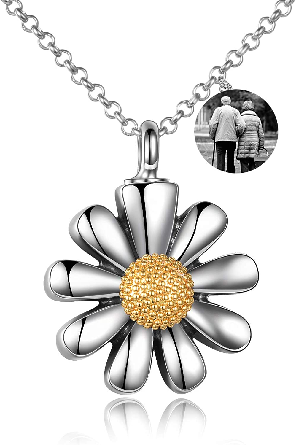 URONE Personalized Sterling Max 65% OFF Silver Excellent Sunflower Necklace Urn for As