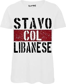 da30f65ba83cfa T-Shirt Divertente Donna Maglietta con Frase Ironica Stavo col Libanese  Tuned