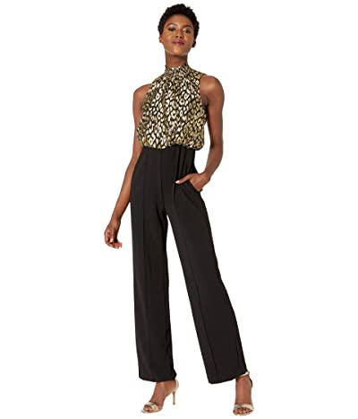 Donna Morgan Animal Dot Sleeveless Smock Neck with Solid Stretch Crepe Bottoms Jumpsuit (Black/Gold) Women