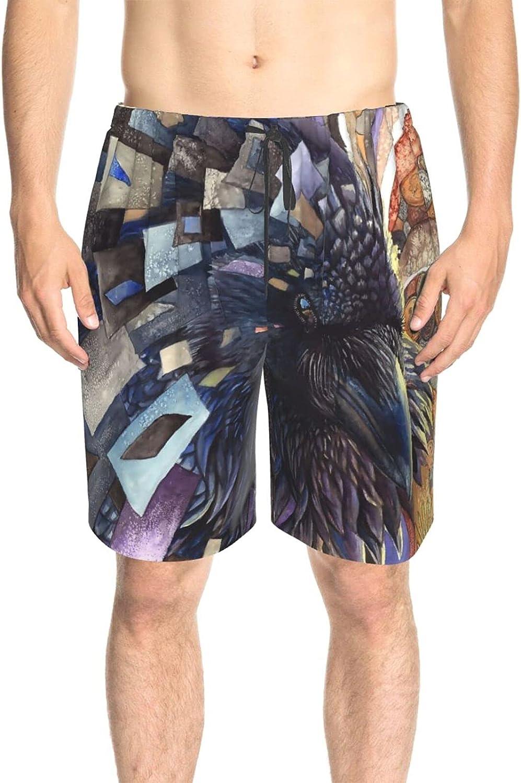 Men's Swim Shorts Owl Hippie Mandala Swim Board Shorts Fast Dry Fashion Swimwear Bathing Suits with Pockets