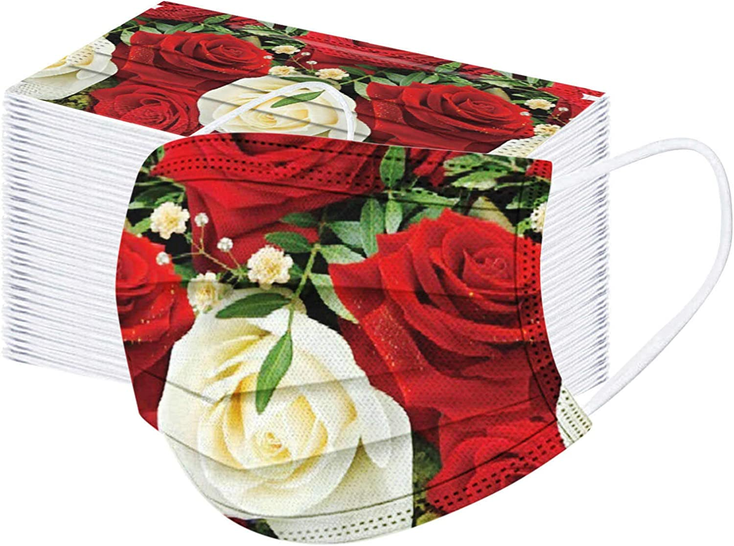100 Pcs Floral Print Rose for sale Disposable_Face_Mask Women Adults Limited Special Price