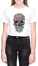 Schedel Bloemen Dames Crop T-Shirt Wit Women's Cro...