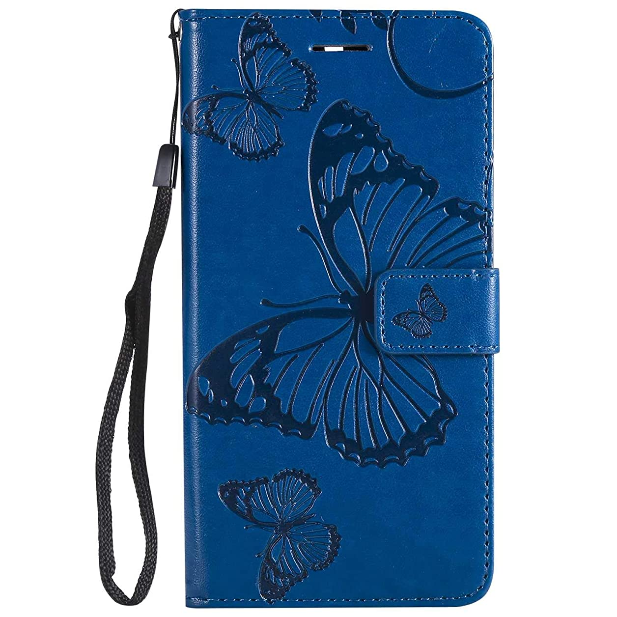 妥協液化する鉛筆OMATENTI Nokia 5 手帳型 ケース, 良質 高級感PUレザー カード収納ホルダー付きストラップ付き 落下防止 全面保護 衝撃吸収 保護カバー エンボス蝶柄, 青