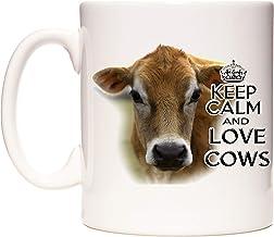 Taza de vaca. Taza con texto en inglés