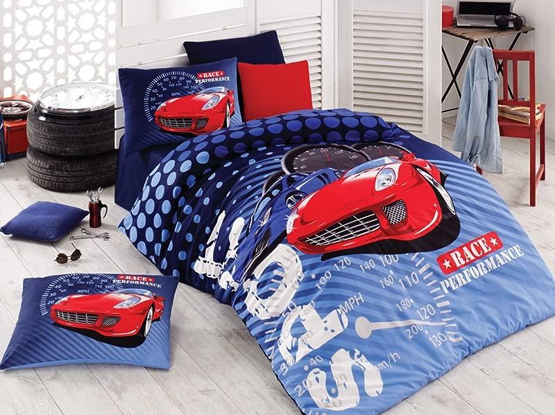 Sport Race Kids Cars Bedding Duvet Cover Set 100 Cotton Boys Blue Bedding Linens 4 Pcs COMFORTER INCLUDED