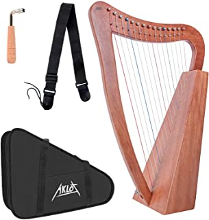 AKLOT Harp 15 Strings Mahogany Harp 22 Inch Height for Adult Kids Beginner with Tuning Wrench Black Gig Bag Strap (Interna...