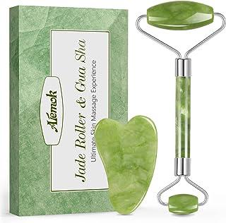 Jade Roller Massager, Aiemok 100% Natuurlijke Facial Massager Jade Roller met Gua-Sha Set, Anti-Aging Facial Stone Roller ...