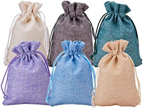 BENECREAT 30Pack 6 Color Burlap Bags with Drawstring Gift Bags Jewelry Pouch for Wedding Party and DIY Craft, 5.3 x 3.7 Inch