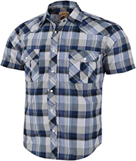 Coevals Club Men's Short Sleeve Casual Western Plaid Snap Buttons Shirt