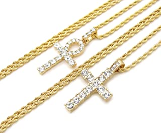 Fashion 21 Egyptian Ankh, Cross Pendant 20 inches to 30 inches Chain Two Necklace Set in Gold Tone